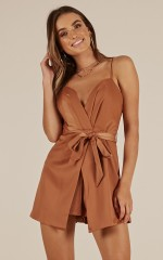 Come Back Home playsuit in tan sateen