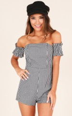 Come To The Party playsuit in black check