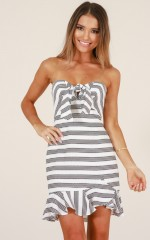 Count Your Blessings dress in white stripe