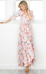 Cover Me Up maxi dress in peach floral