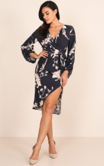 Dawn On Me dress in navy floral