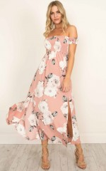 Daytime Dancer maxi dress in dusty pink floral