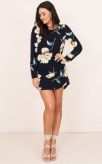 Diamond Lover shift dress in navy floral