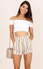 Dont Mind shorts in mustard stripe