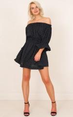 Doting Days dress in black polka