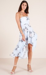 Double Trouble maxi dress in blue floral