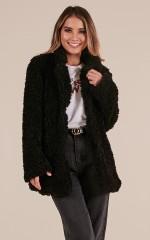 Down The Runway coat in black teddy