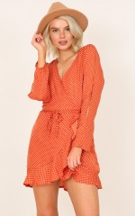 Downtown Lover dress in rust polka dot