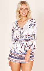Dreaming Away Playsuit in white print