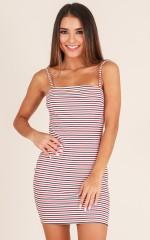 Dynasty dress in red stripe