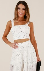Easing Into It top in white polka