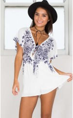 Easy Going Playsuit in white print
