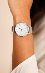Either Way watch in silver