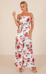 Falling Deeper jumpsuit in white floral