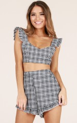 Feeling Glorious two piece set in black check