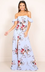 A Floral Affair Maxi Dress in blue floral