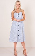 For The Fun Of It midi dress in blue check