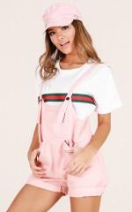 Foxy overalls in blush
