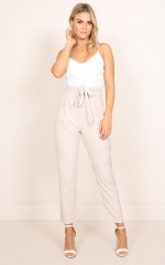 Get Movin jumpsuit in white and beige