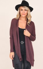 Grab And Go cardigan in wine