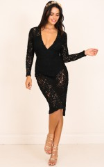 Guestlist Dress in Black Lace