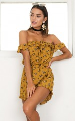 Half a Heart Playsuit in mustard floral