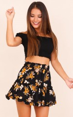 Here For Love skirt in black floral