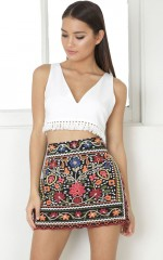 Hips Dont Lie skirt in black embroidery