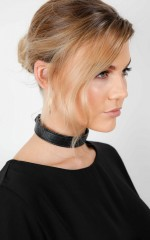 Hold Your Breath choker in black leather