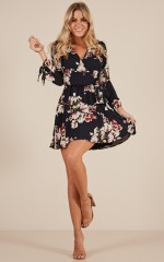 Homebound Dress in Navy Floral