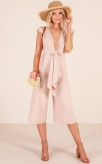 Hush Hush Jumpsuit in Beige