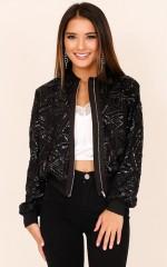 I Still Shine bomber jacket in black sequin