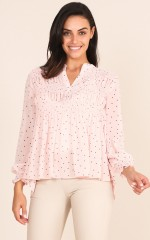 In Your Hands top in blush polka dot