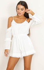 Indie Fringes playsuit in white