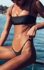 Inez Bikini Set in Black Metallic