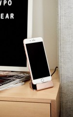 iPhone charging dock in rose gold