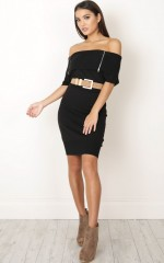 Killer Combo Knit Dress in black