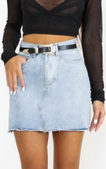 Just Like Smoke Denim Skirt in Mid Wash