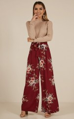 Kiss From A Rose Pants in Wine Floral