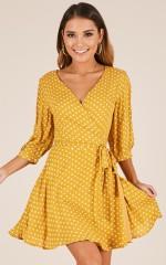 Knot A Moment dress in mustard polkadot