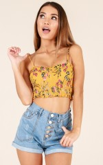 Know By Now top in mustard floral