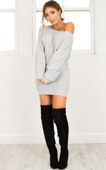 Grey Area Knit Dress in grey