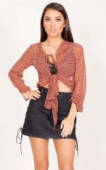 Le Freak Top in rust print