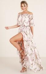 Leah maxi dress in blush floral