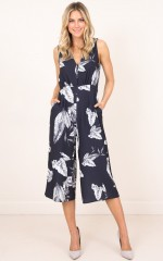 Leave A Message jumpsuit in navy print