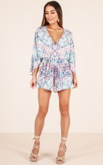 Light Up The Dark playsuit in blue print