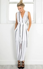 Little Less Conversation dress in white stripe