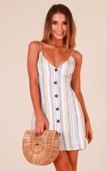 Little Mischievous dress in blue stripe linen look