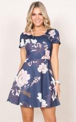 Lose My Breath Dress in navy floral