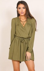 Lost Time playsuit in khaki